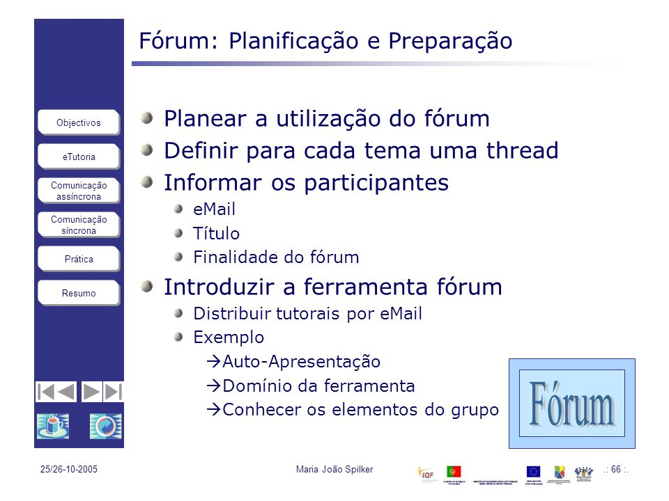 Fórum: Planificação e Preparação