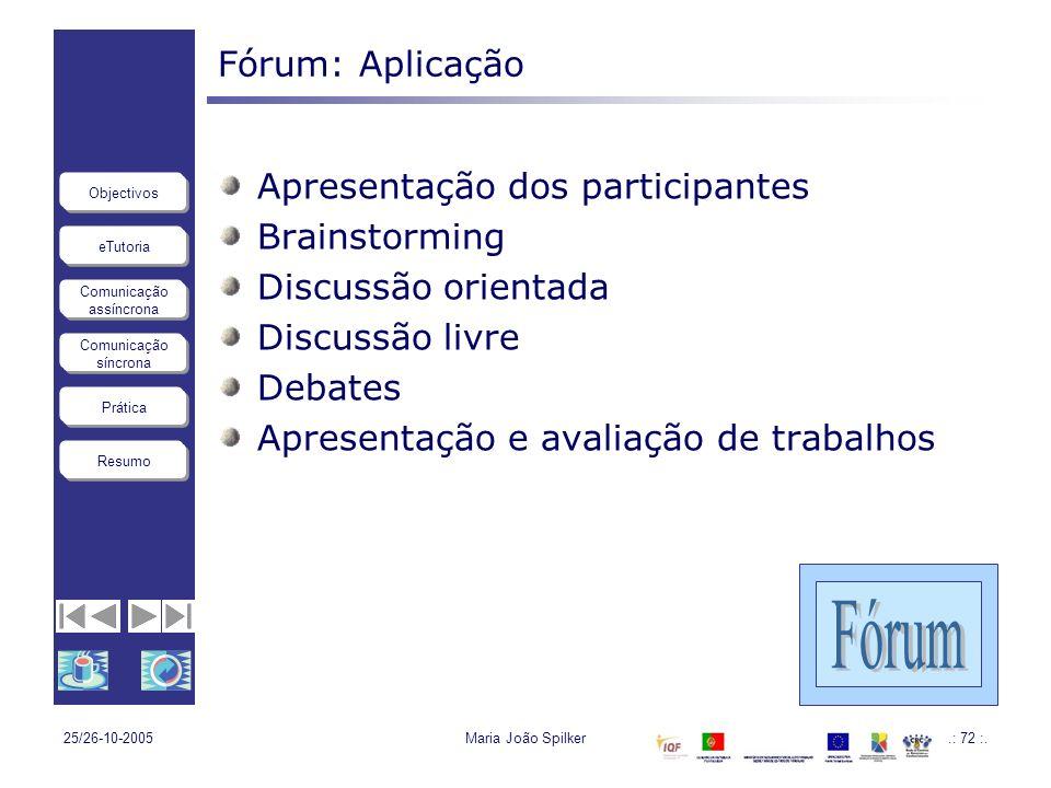 Fórum Fórum: Aplicação Apresentação dos participantes Brainstorming