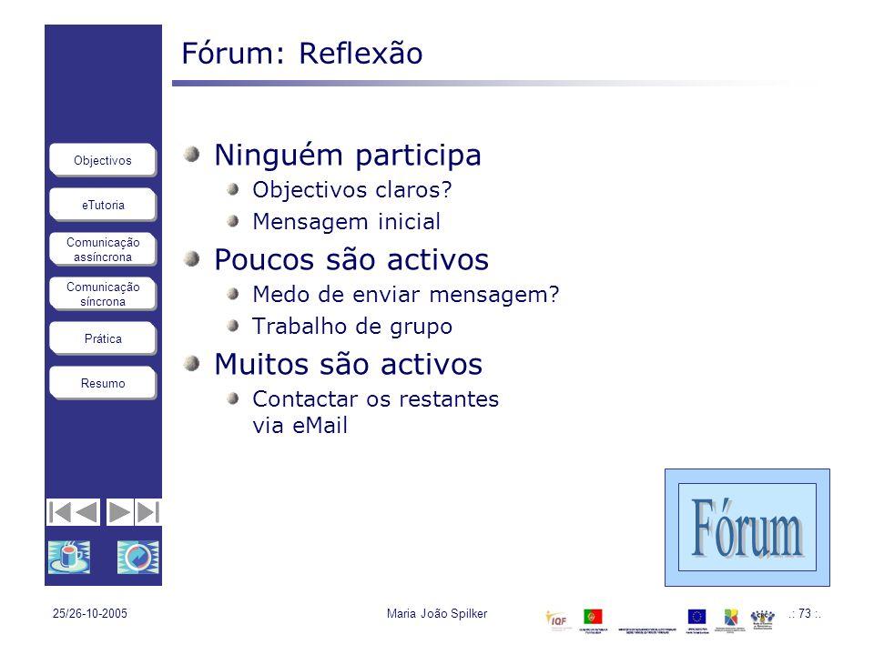 Fórum Fórum: Reflexão Ninguém participa Poucos são activos