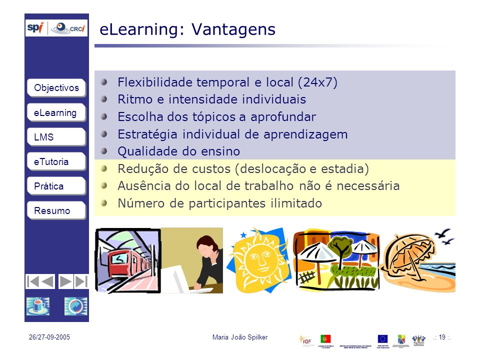 eLearning: Vantagens Flexibilidade temporal e local (24x7)