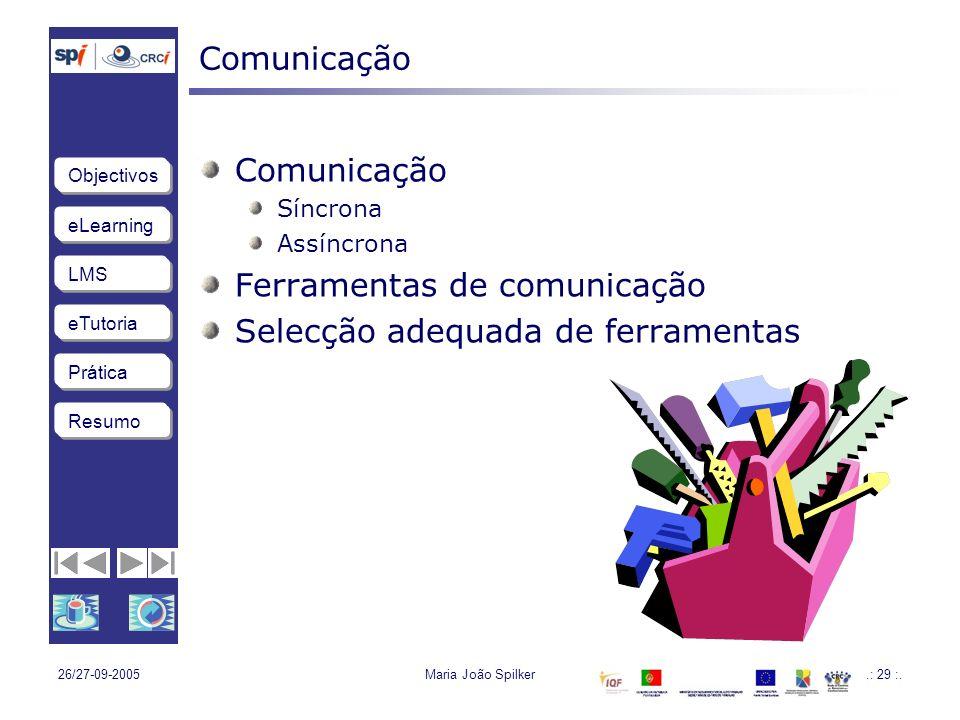 Ferramentas de comunicação Selecção adequada de ferramentas