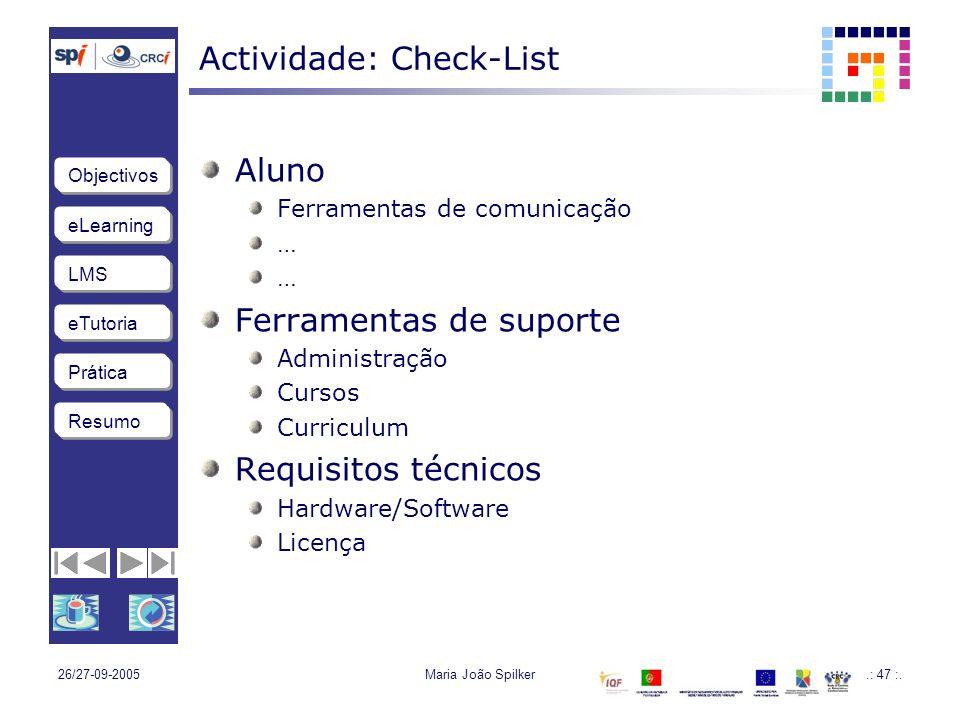 Actividade: Check-List