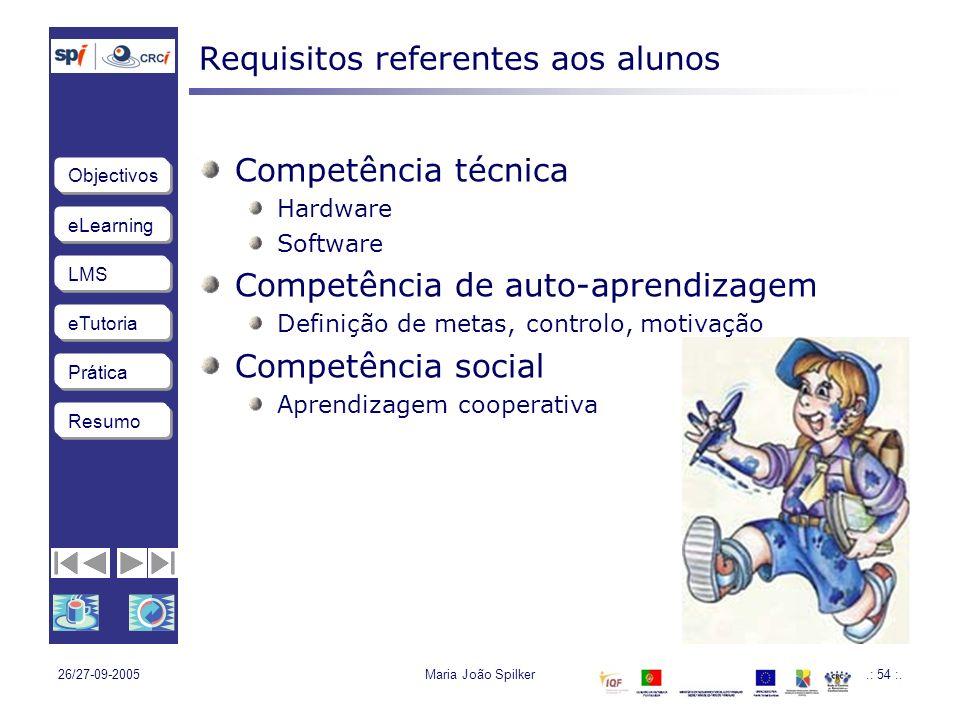 Requisitos referentes aos alunos