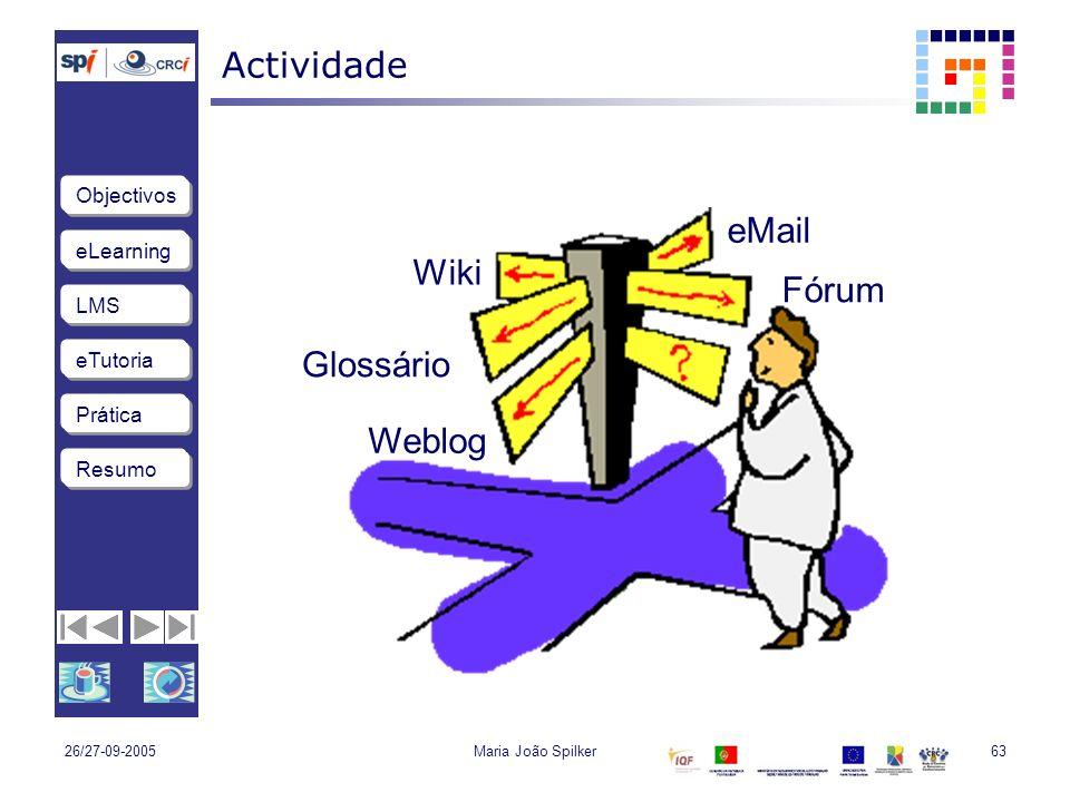 Actividade eMail Wiki Fórum Glossário Weblog 26/27-09-2005