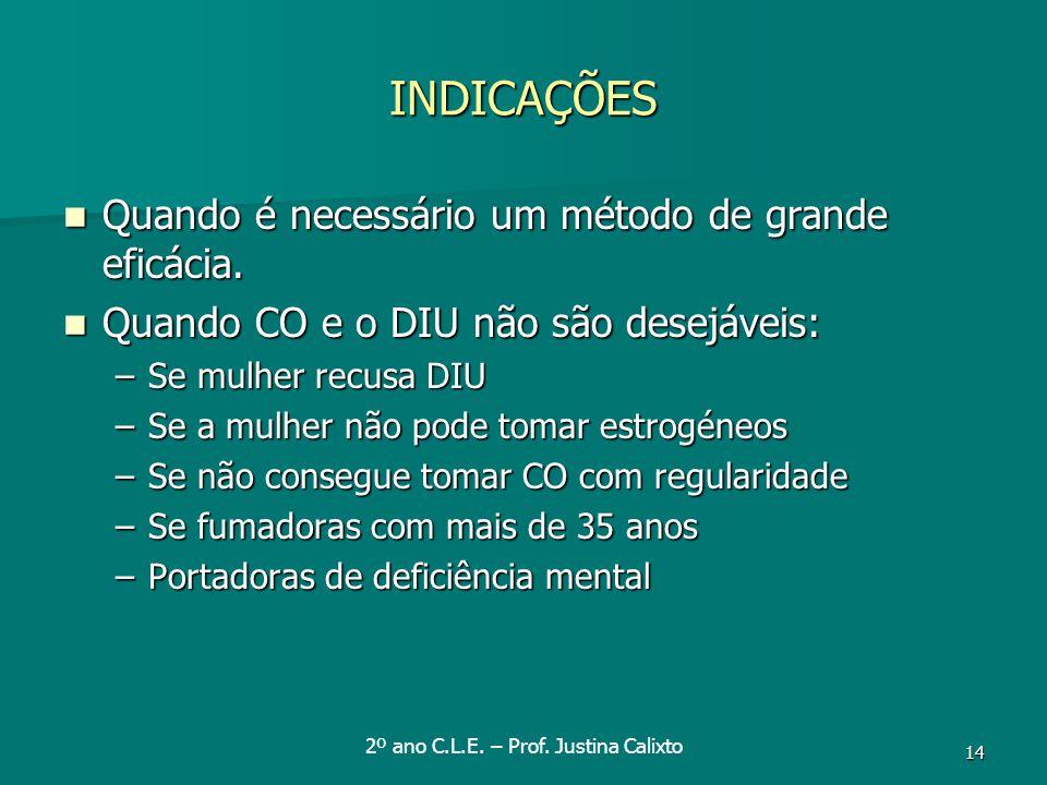 2º ano C.L.E. – Prof. Justina Calixto