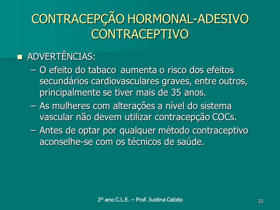 CONTRACEPÇÃO HORMONAL-ADESIVO CONTRACEPTIVO