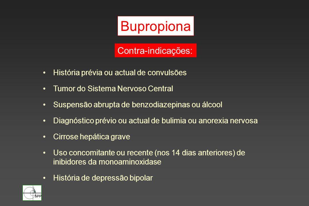 Bupropiona Contra-indicações: História prévia ou actual de convulsões