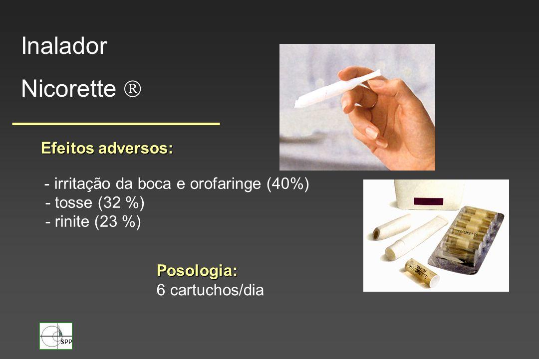 Inalador Nicorette  Efeitos adversos: - tosse (32 %) - rinite (23 %)