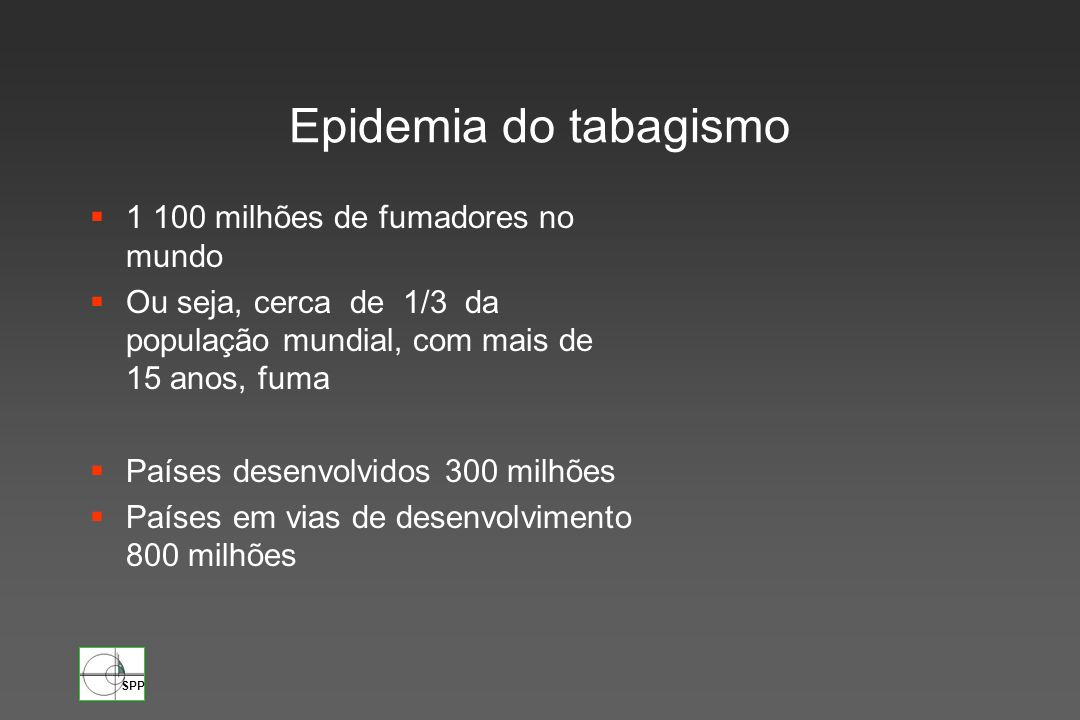 Epidemia do tabagismo 1 100 milhões de fumadores no mundo