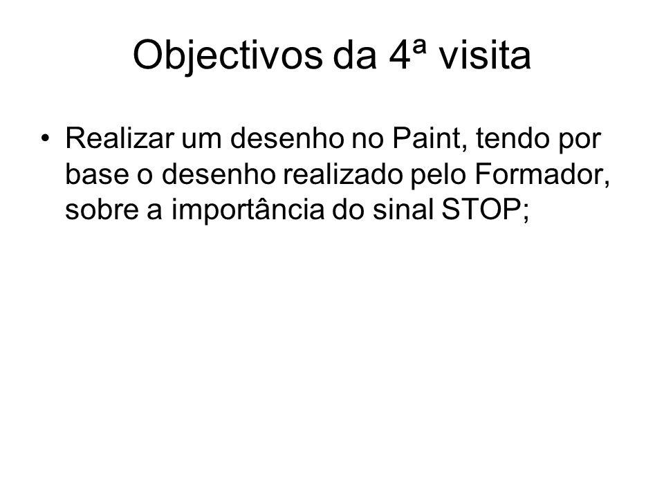 Objectivos da 4ª visita Realizar um desenho no Paint, tendo por base o desenho realizado pelo Formador, sobre a importância do sinal STOP;