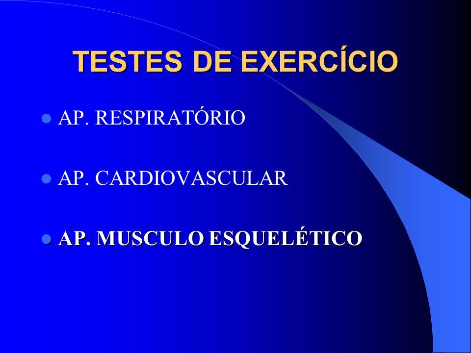 TESTES DE EXERCÍCIO AP. RESPIRATÓRIO AP. CARDIOVASCULAR