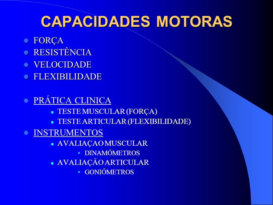 CAPACIDADES MOTORAS FORÇA RESISTÊNCIA VELOCIDADE FLEXIBILIDADE