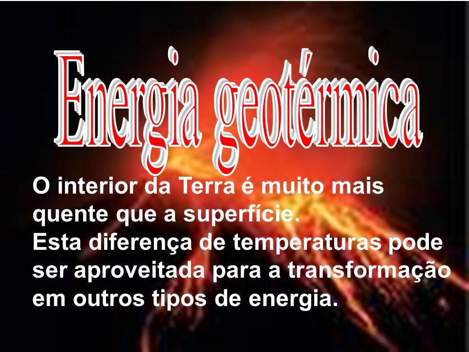 Energia geotérmica O interior da Terra é muito mais quente que a superfície.