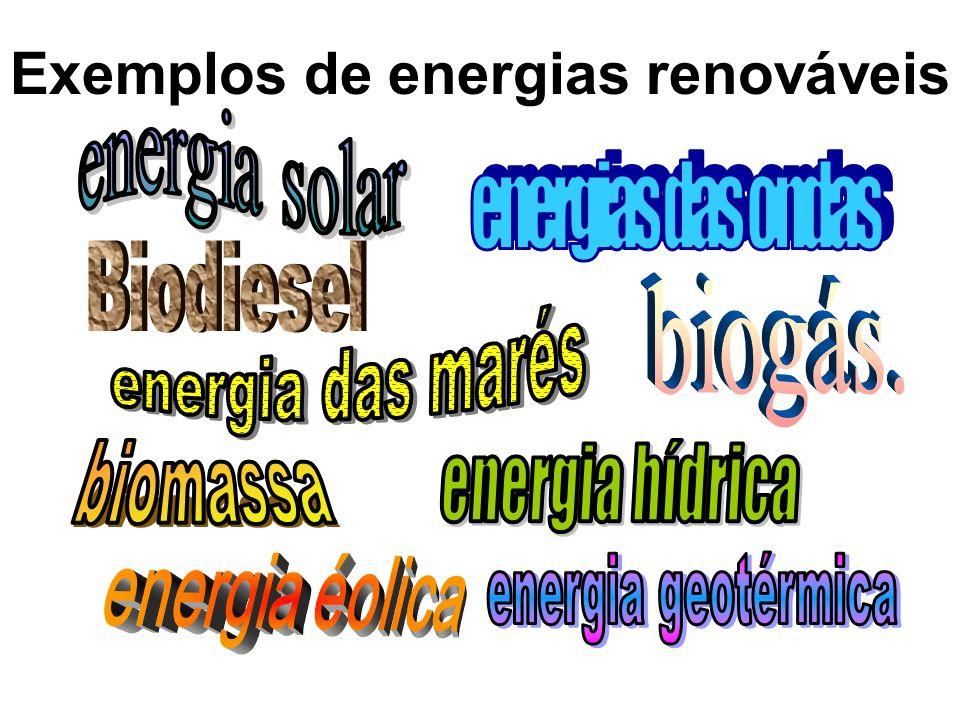 Exemplos de energias renováveis