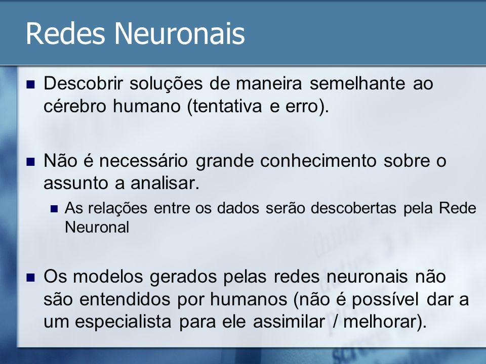 Redes Neuronais Descobrir soluções de maneira semelhante ao cérebro humano (tentativa e erro).
