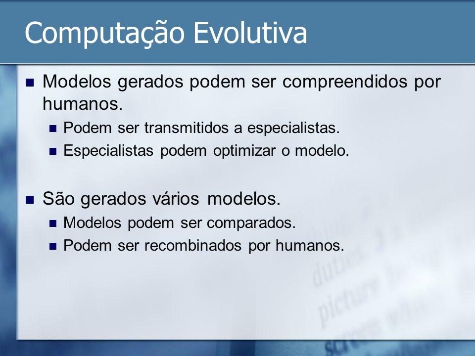 Computação Evolutiva Modelos gerados podem ser compreendidos por humanos. Podem ser transmitidos a especialistas.