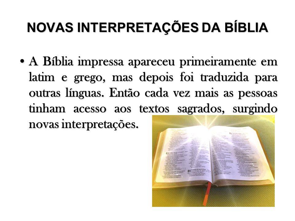NOVAS INTERPRETAÇÕES DA BÍBLIA