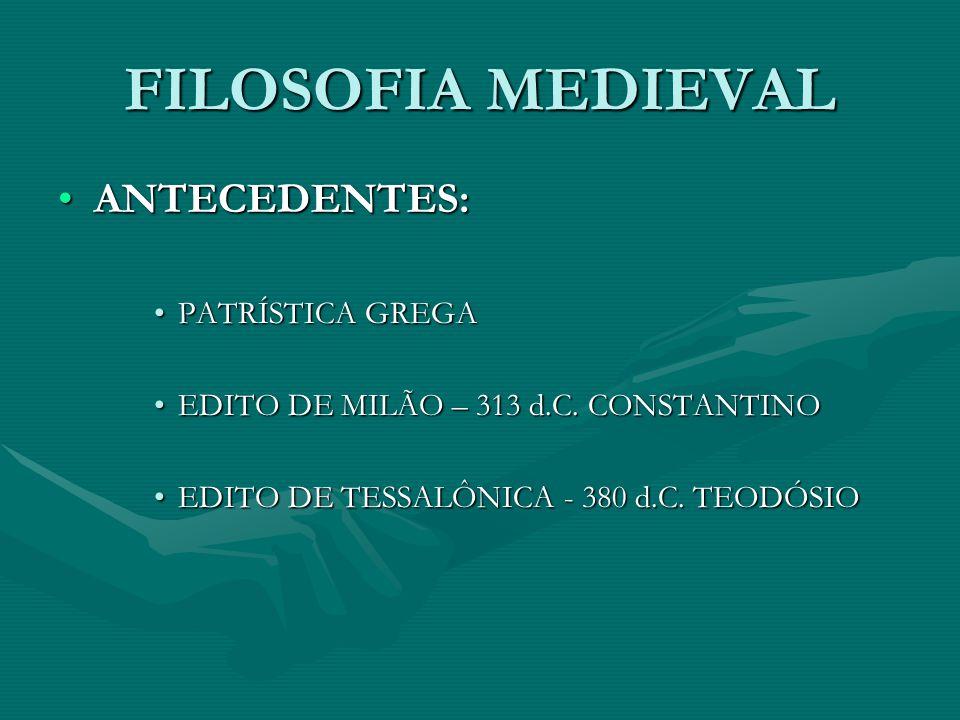 FILOSOFIA MEDIEVAL ANTECEDENTES: PATRÍSTICA GREGA