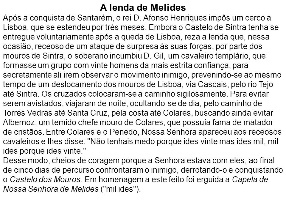 A lenda de Melides