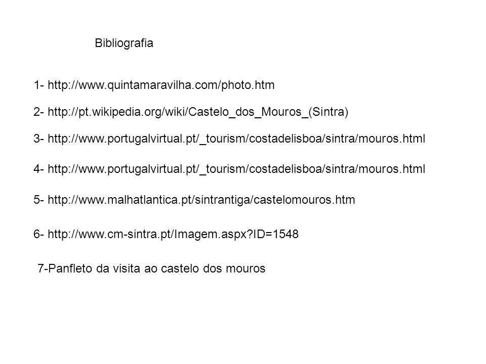 Bibliografia 1- http://www.quintamaravilha.com/photo.htm. 2- http://pt.wikipedia.org/wiki/Castelo_dos_Mouros_(Sintra)
