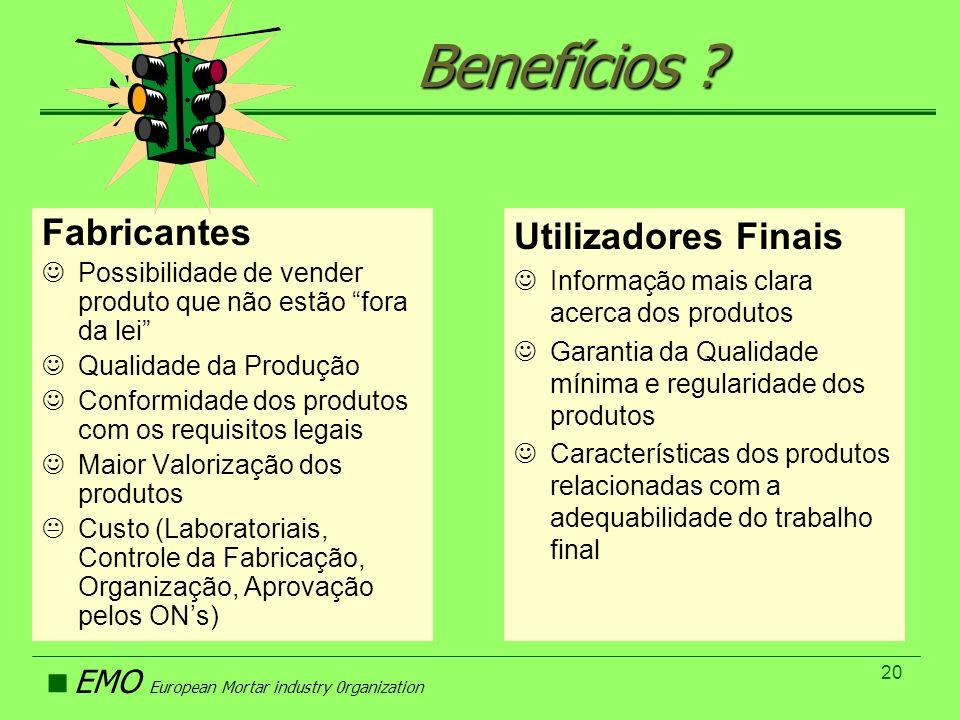 Benefícios Fabricantes Utilizadores Finais