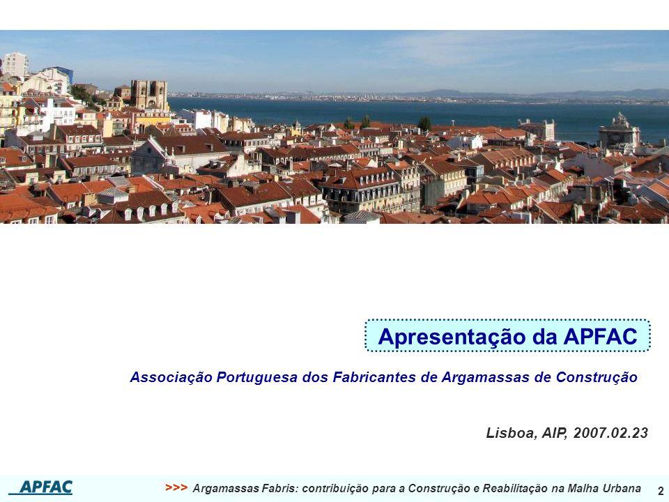 Apresentação da APFAC Associação Portuguesa dos Fabricantes de Argamassas de Construção.