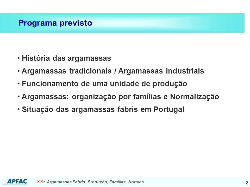 Programa previsto História das argamassas