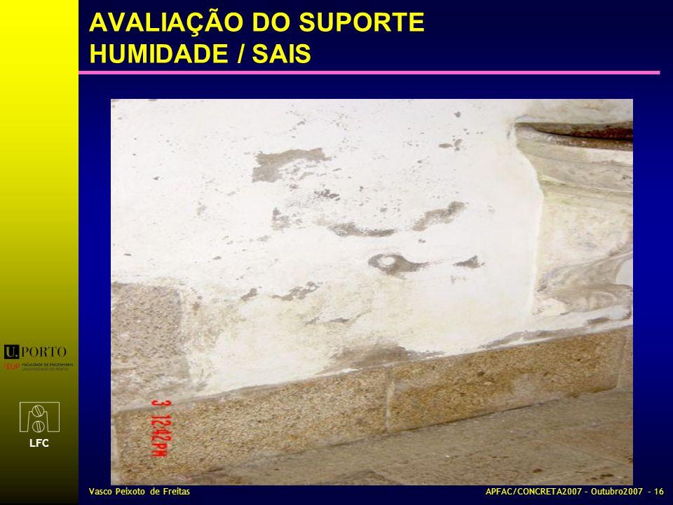 AVALIAÇÃO DO SUPORTE HUMIDADE / SAIS