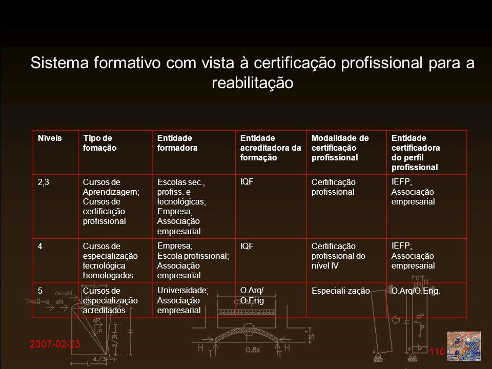 Sistema formativo com vista à certificação profissional para a reabilitação