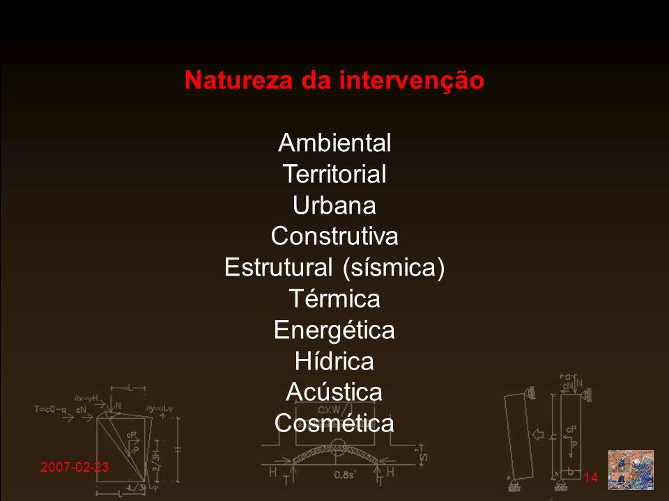 Natureza da intervenção