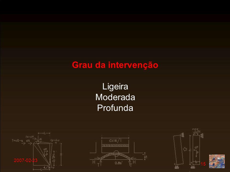 Grau da intervenção Ligeira Moderada Profunda 2007-02-23