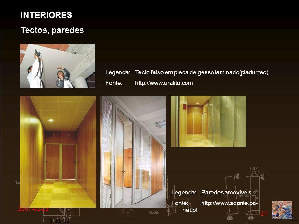 INTERIORES Tectos, paredes