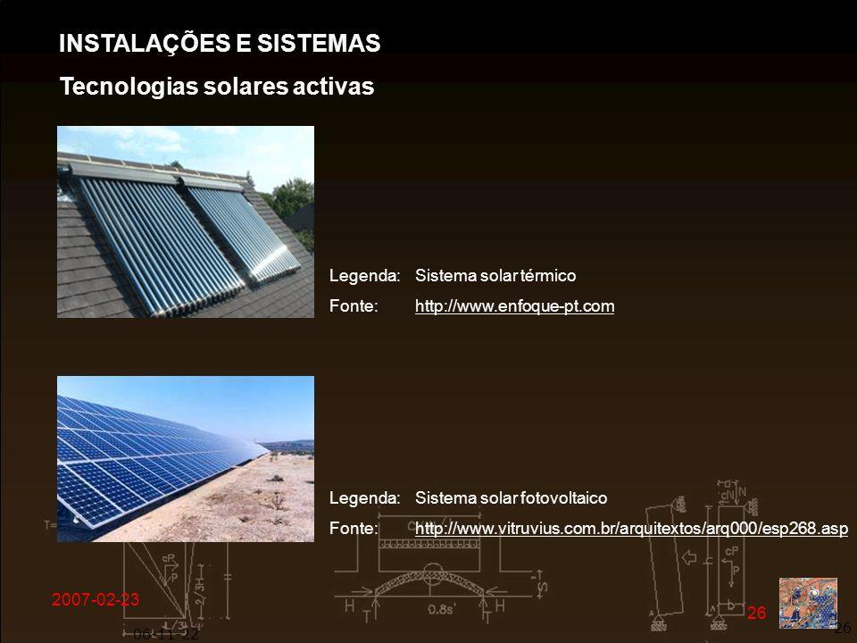 INSTALAÇÕES E SISTEMAS Tecnologias solares activas