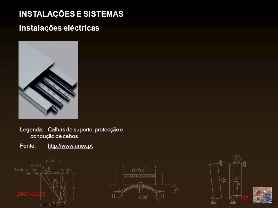 INSTALAÇÕES E SISTEMAS Instalações eléctricas