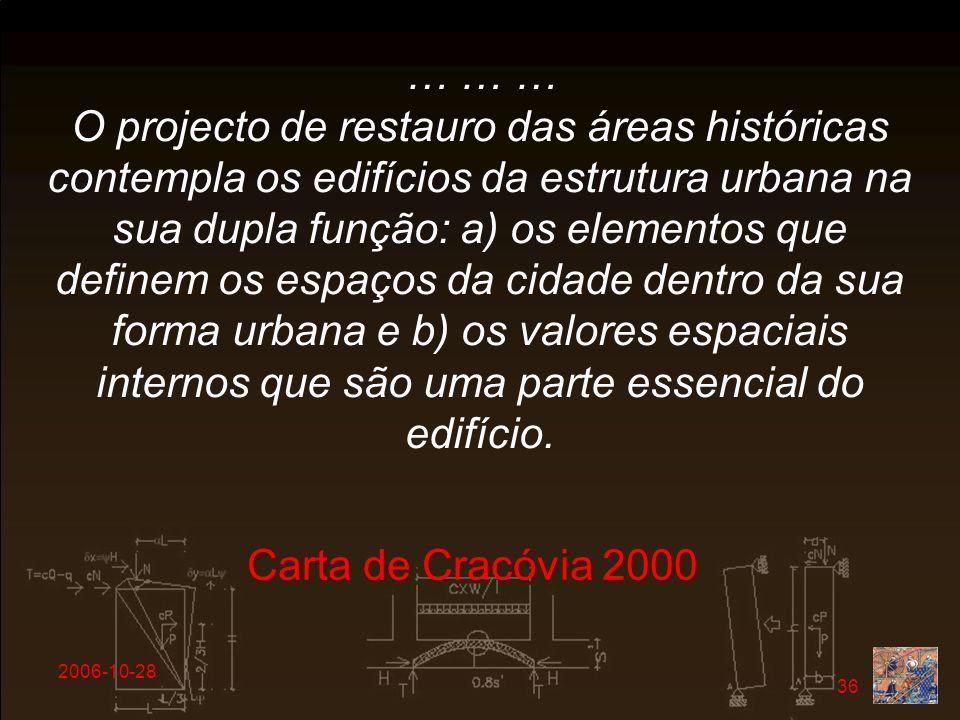 … … … O projecto de restauro das áreas históricas contempla os edifícios da estrutura urbana na sua dupla função: a) os elementos que definem os espaços da cidade dentro da sua forma urbana e b) os valores espaciais internos que são uma parte essencial do edifício.