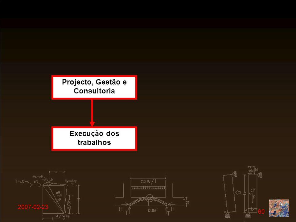 Projecto, Gestão e Consultoria Execução dos trabalhos