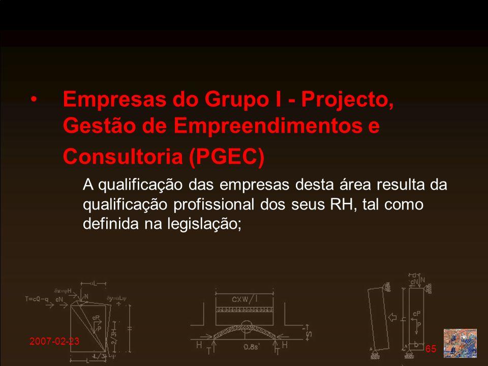 Empresas do Grupo I - Projecto, Gestão de Empreendimentos e Consultoria (PGEC)