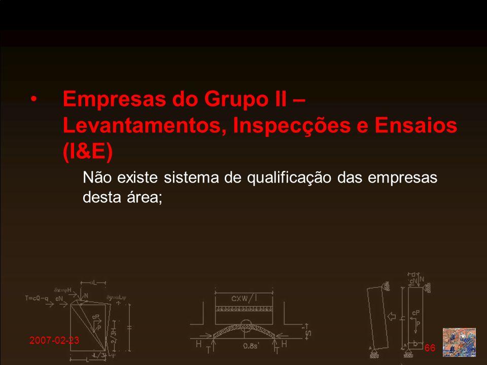 Empresas do Grupo II – Levantamentos, Inspecções e Ensaios (I&E)