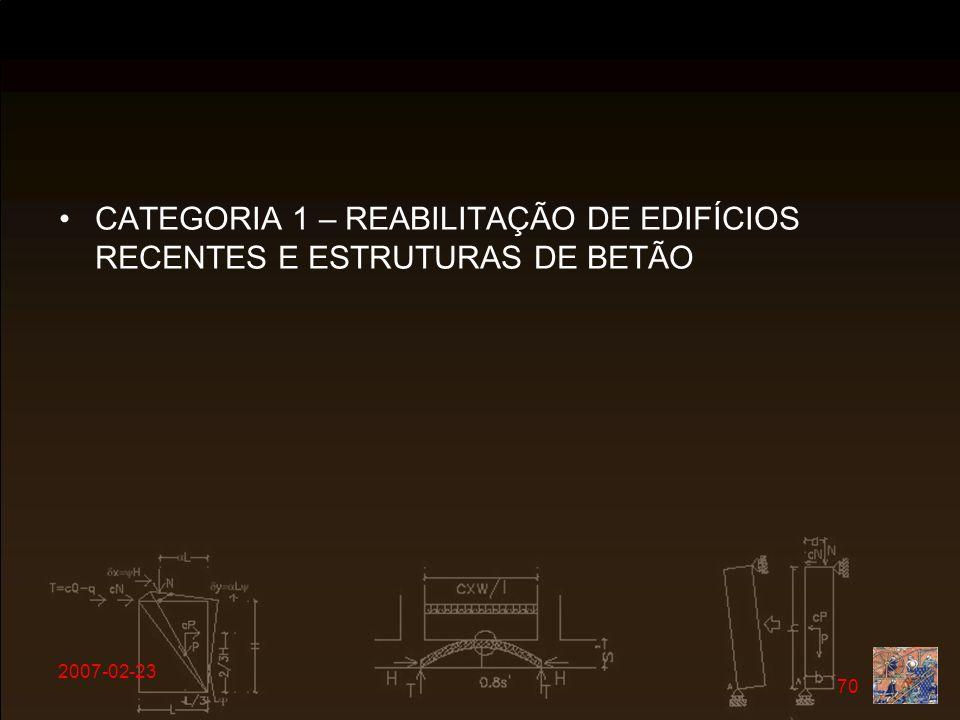 CATEGORIA 1 – REABILITAÇÃO DE EDIFÍCIOS RECENTES E ESTRUTURAS DE BETÃO