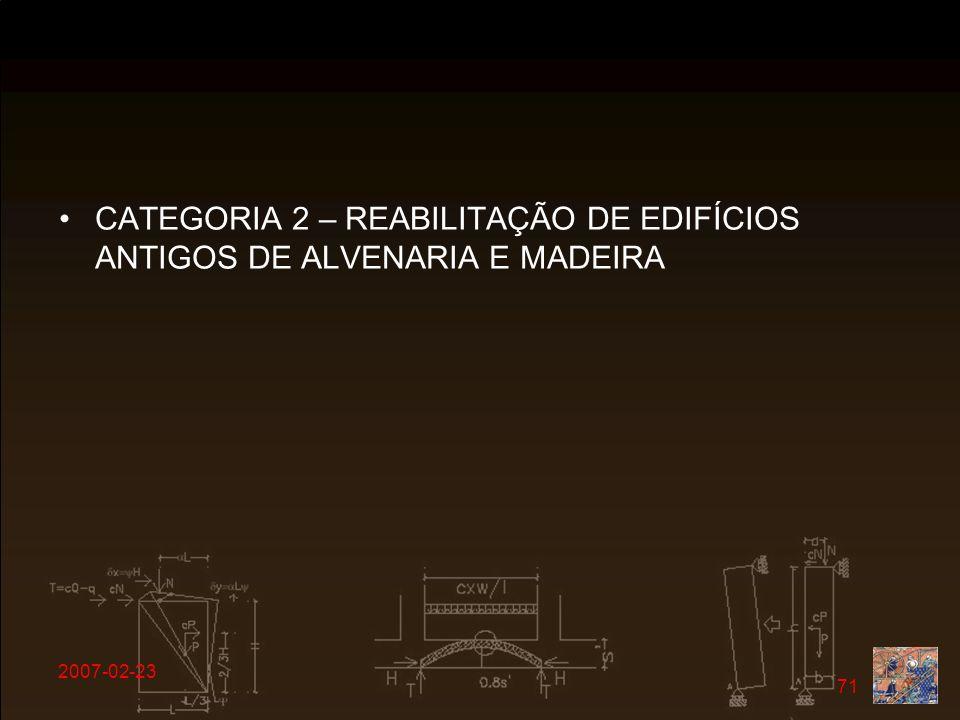 CATEGORIA 2 – REABILITAÇÃO DE EDIFÍCIOS ANTIGOS DE ALVENARIA E MADEIRA