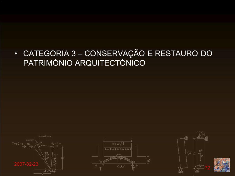 CATEGORIA 3 – CONSERVAÇÃO E RESTAURO DO PATRIMÓNIO ARQUITECTÓNICO