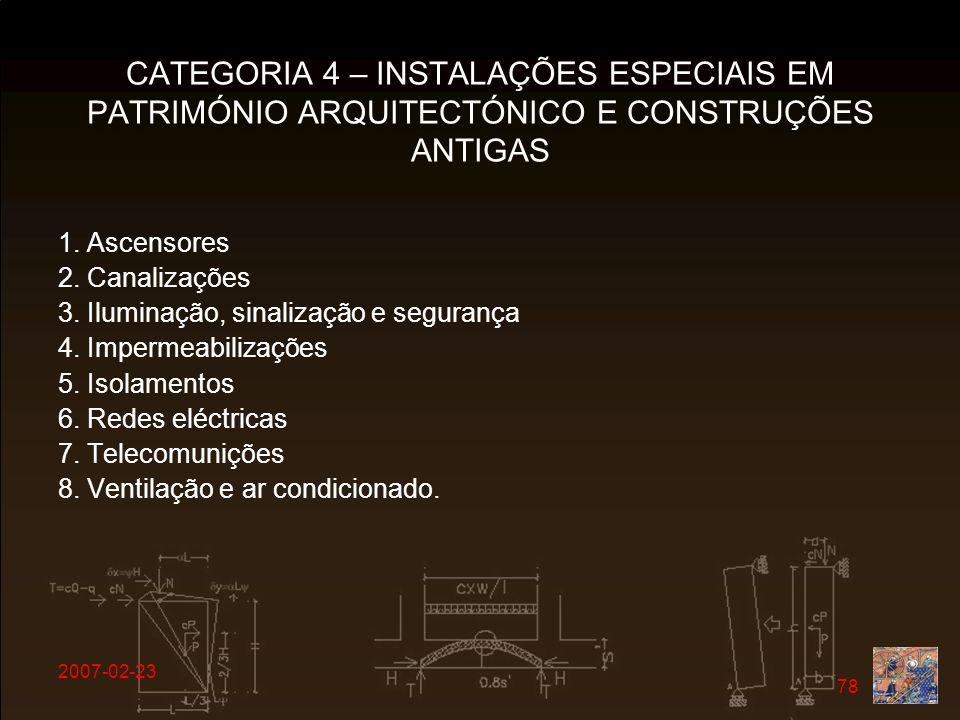 CATEGORIA 4 – INSTALAÇÕES ESPECIAIS EM PATRIMÓNIO ARQUITECTÓNICO E CONSTRUÇÕES ANTIGAS