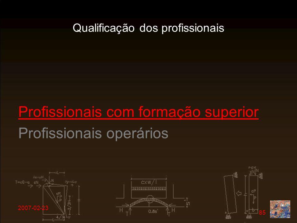 Qualificação dos profissionais