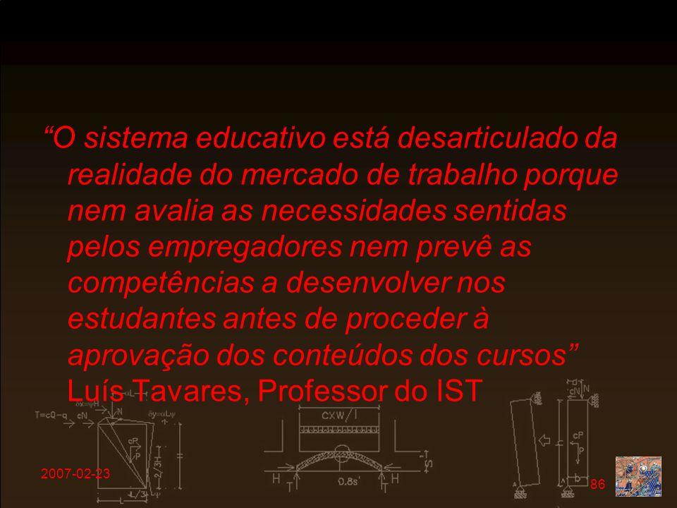 O sistema educativo está desarticulado da realidade do mercado de trabalho porque nem avalia as necessidades sentidas pelos empregadores nem prevê as competências a desenvolver nos estudantes antes de proceder à aprovação dos conteúdos dos cursos Luís Tavares, Professor do IST
