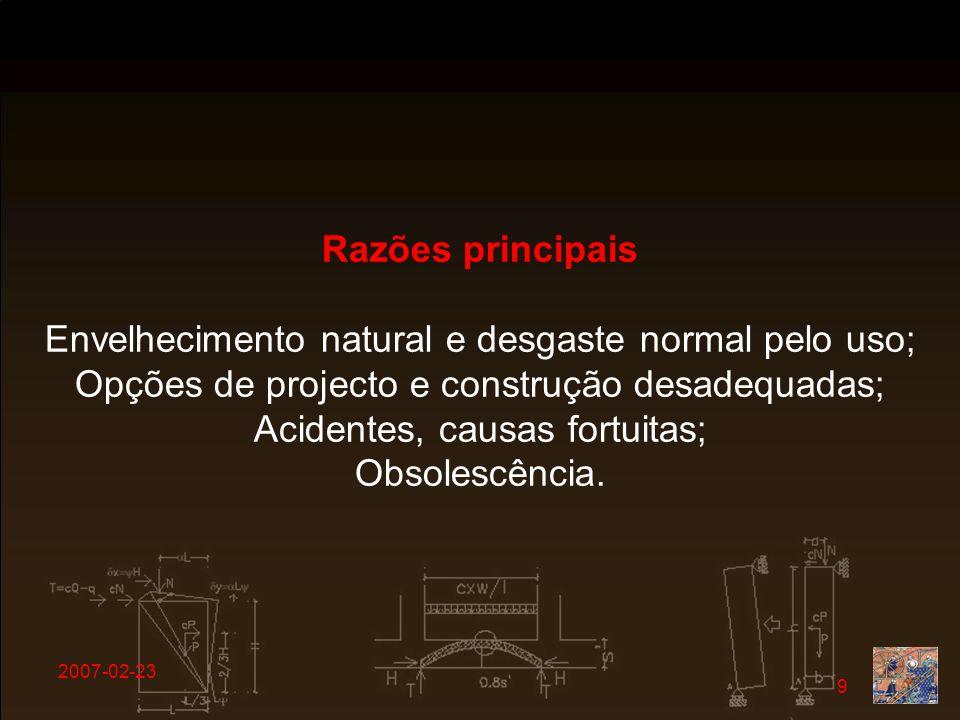 Envelhecimento natural e desgaste normal pelo uso;
