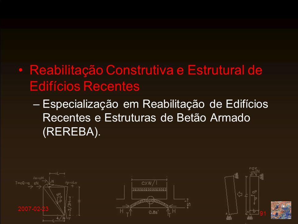 Reabilitação Construtiva e Estrutural de Edifícios Recentes