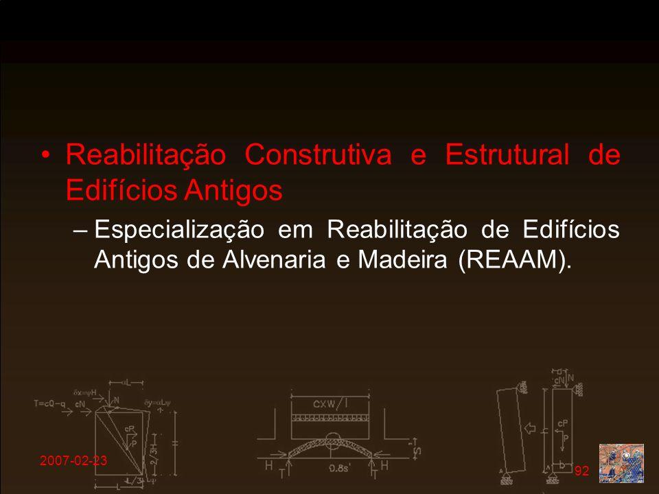 Reabilitação Construtiva e Estrutural de Edifícios Antigos