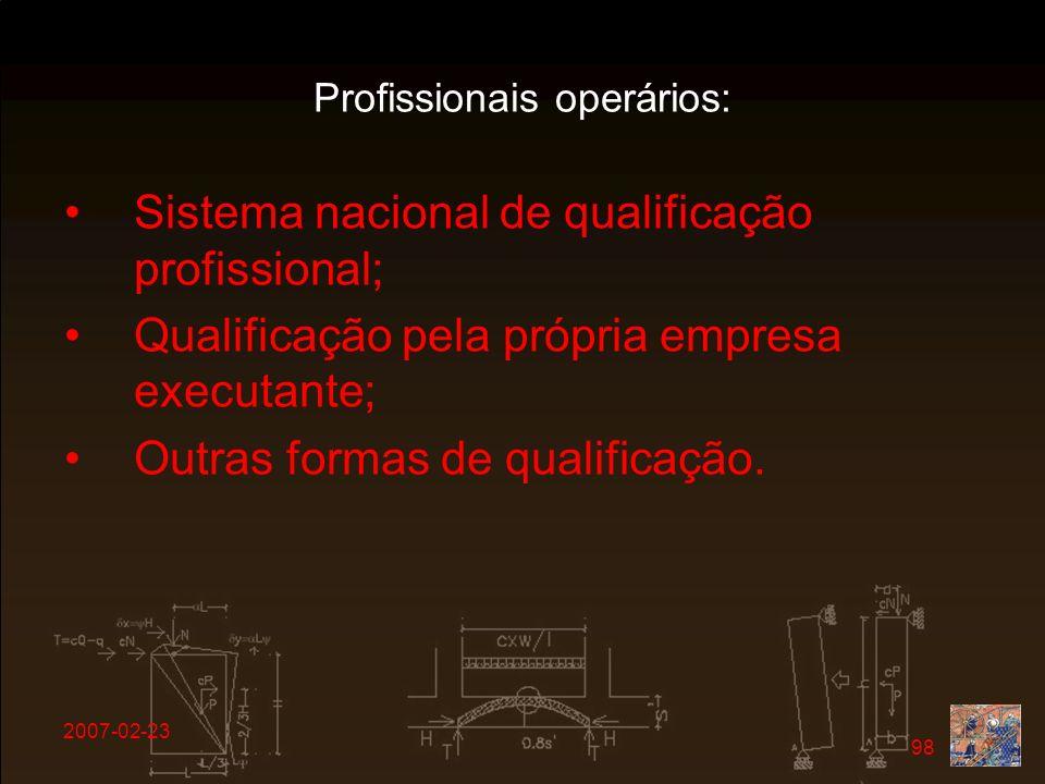 Profissionais operários: