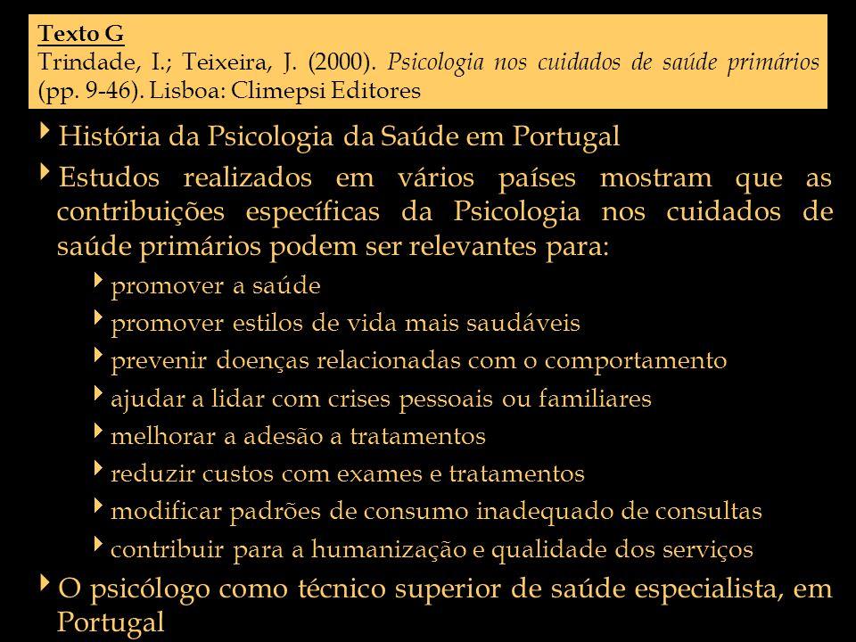 História da Psicologia da Saúde em Portugal