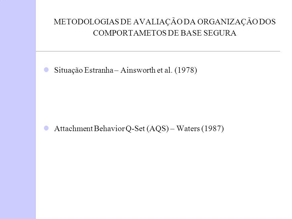METODOLOGIAS DE AVALIAÇÃO DA ORGANIZAÇÃO DOS COMPORTAMETOS DE BASE SEGURA